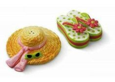 Beach Sun Hat Sandal Seaside Salt Pepper Shaker S/P by Downeast Concepts. $10.88. Hat measures 3 inches x 3 1/2 inches, flip flop measures 2 1/2 x 2 inches. Hand painted ceramic. Beach Sun Hat Sandal Seaside Salt Pepper Shaker S/P. Save 43%!