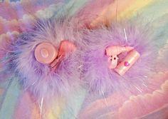 Marabou hair clips iridescent lurex lavender by missalphabet