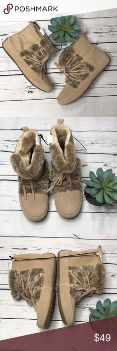 {Lucky Brand}  NEW! Aresey moccasin booties sz 7 NEW! Never worn booties by Lucky Brand! Faux fur lining, man made sole, suede body.   Offers always welcome! Lucky Brand Shoes Ankle Boots & Booties