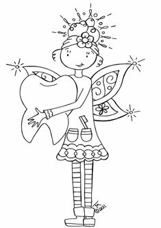 Free & Easy To Print Fairy Coloring Pages - Tulamama Fairy Coloring Pages, Adult Coloring Pages, Coloring Books, Coloring Sheets, Embroidery Applique, Cross Stitch Embroidery, Embroidery Patterns, Tooth Fairy Pillow, Digital Stamps
