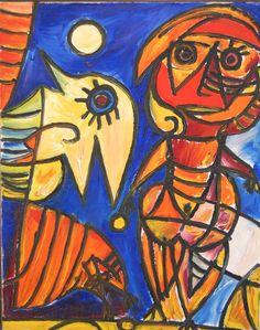 Carl-Henning Pedersen - Rod marionet og fugl, 1969