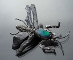 Mantis With An Opal Silver Brooch - product images  of SCHJ  #silverbrooch #silverjewellery #jewelry #jewellery #brooch #handmadejewellery #uniquejewellery #gifts #jewellerystore #jewelleryboutique