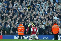 Thierry Henry in front of Spurs fans..