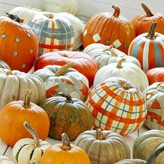 plaid pumpkins, i know a little girl who would love to do this.