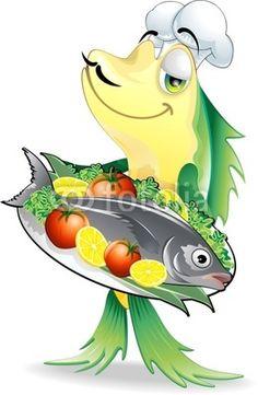#Cartoon #Fish #Cook / #Chef-#Vector © #Bluedarkat - on #Fotolia!