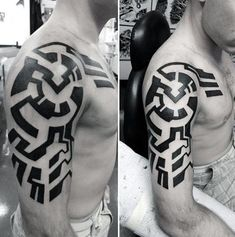Modern Guys Black Ink Tribal Tattoos For Arms Tribal Arm Tattoos For Men, Dragon Tattoos For Men, Cool Arm Tattoos, Tribal Sleeve Tattoos, Geometric Tattoo Arm, Japanese Sleeve Tattoos, Arm Tattoos For Guys, Body Art Tattoos, Hand Tattoos