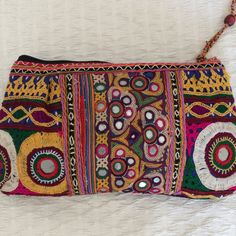 Antique   Indian hand embroidery leather clutch