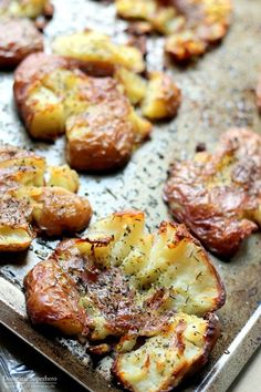 The BEST EVER Salty Herbed Smashed Red Potatoes