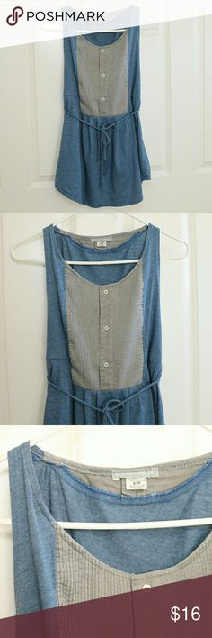 """FINAL PRICE!  Urban Outfitters Urban Renewal Tunic Urban Renewal brand for Urban Outfitters.  Tank, sleeveless blouse.  Dusty blue with grey """"bib"""".  Tie at waist to be able to cinch.  Longer like a tunic.  Size S/M.  About 17 inches armpit to armpit.  About 28 inches shoulder to hem.  This is a previously owned item.  It's in great condition.  No excessive wear. Urban Outfitters Tops Blouses"""