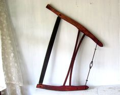 1930's Bow Saw  Antique Crosscut Saw  One Man by PaperBoysVintage