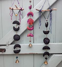 Your place to buy and sell all things handmade Wiccan Decor, Pagan Altar, Wiccan Crafts, Altar Decorations, Samhain, Mobiles, Wind Chimes, Black Moon, Moon Moon