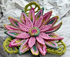 Crochet Brooch Irish Crochet Pin Daisy Pink Yellow Green