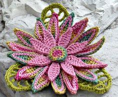Crochet Brooch Irish Crochet Pin Daisy Pink Yellow Green