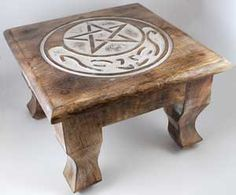 Celtic crescent moon pentagram altar table