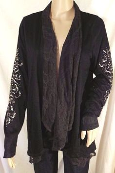 Miss Me Open Front Drape Embellished Blouse in Black or Beige