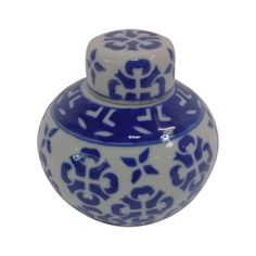 "This modern Chinese 5"" H blue and white ginger lid jar makes an outstanding statement in any room. This contemporary jar and lid are both adorned with a hand painted a abstract arabesque in blue cobalt glaze. http://www.orientalfurnishings.com/5h-blue-and-white-ginger-jar-from-oriental-furnishings/"