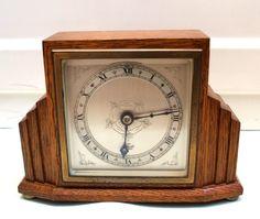 Elliot English Art  Deco Mahogany Case Timepiece Mantle Clock GWO 7.5 H 5.5 W