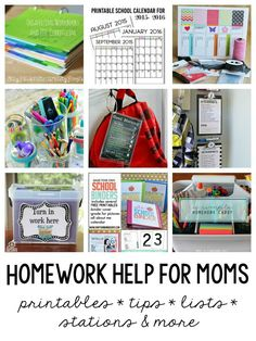 Homework Help for Moms / Printables, homework stations, organization tips and more / Round up on Thirty Handmade Days