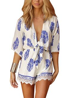 ITFabs Women Boho Long Sleeves Deep V Dress Floral Print Jumpsuit ITFabs http://www.amazon.com/dp/B00ZUDZ3RM/ref=cm_sw_r_pi_dp_QNBQvb14D352X