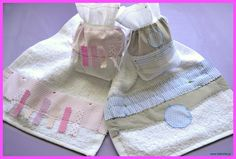 Hand embroidered set for boys and girls, with hand towel and dummy bag