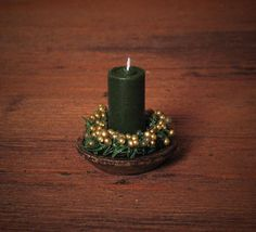 Noble Miniature Christmas Candle for Your Dollhouse by DinkyWorld on Etsy