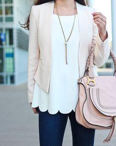 Office Outfit | stylishpetite com blush blazer and scallop hem 245