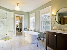 Pretty Fern Green adds a touch of nature to an elegant traditional bath design