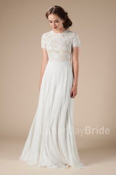 lace modest wedding dresses for the lds bride, the Charlize sheath gown