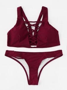 Shop Criss Cross Plunge Neckline Bikini Set online. SheIn offers Criss Cross Plunge Neckline Bikini Set & more to fit your fashionable needs.