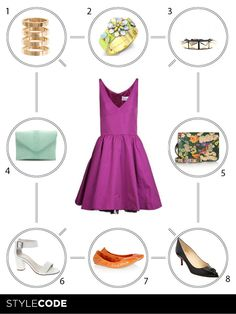 Choose accessories to combine with this sophisticated purple dress of Valentino.More in MAGSC; http://www.stylecode.es/espaciosc/espaciosc.php?id=4