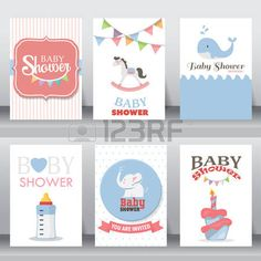 baby invites: happy birthday, holiday, baby shower celebration greeting and invitation card.  there are shoes, moon, dress. layout template in A4 size. vector illustration. text can be added