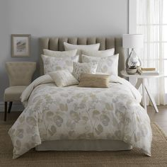 A gold and grey leafy design reverses to refreshing neutral stripes in this Oxidized Leaf comforter set. Complete with matching shams and a bedskirt, this contemporary bedding features a soft cotton construction and is machine washable.