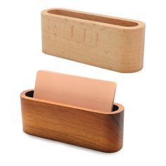 Wooden Business Name Card Organizer Storage Holder Box Case Credit ID Boxes