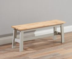 Buy the Chiltern Oak and Grey Large Bench at Oak Furniture Superstore
