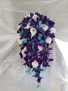 Galaxy orchid cascading bridal bouquet, purple blue orchids, artificial flowers - This beautiful bridal bouquet is made with hand painted galaxy orchids, turquoise hydrangeas and re - Calla Lily Bridal Bouquet, Cascading Bridal Bouquets, Purple Wedding Bouquets, Cascade Bouquet, Bridal Flowers, Flower Bouquet Wedding, Cascading Flowers, Blue Bouquet, Flower Bouquets