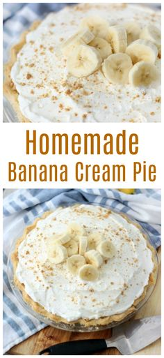 banana pie Banana cream pie is a classic dessert. Made with homemade custard and fresh bananas in a pre-baked buttermilk crust. I'll show you how to make banana cream pie the old fashioned Sugar Cream Pie Recipe, Cream Pie Recipes, Banana Cream Pie Recipe With Pudding, Banana Custard Recipe, Homemade Banana Cream Pie, Bannana Cream Pie, Banana Cream Pie Cake, Banana Cream Desserts, Homemade Pies