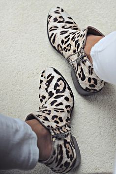 Booties plus animal print makes for adorable work shoes.