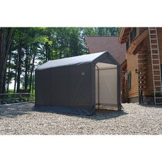 This shed has a small footprint and big value when space is at a premium. Great for storing garden tools, mowers, snow blowers, snowmobiles, ATVs, pool items, or anything you need to store out of sight. It is designed for use in every season and can protect your equipment from sunlight, rain, tree sap and more. Win back garage space with an affordable storage solution. Plastic Storage Sheds, Metal Storage Sheds, Storage Shed Kits, Garbage Storage, Pop Up, Storing Garden Tools, Garbage Shed, Bike Shed, Garage Bike
