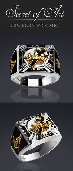 36b4c41eb Masonic Ring Knights Templar Silver 925 Black In Hoc with 24K-Gold-Plated  Parts 4260555870381   eBay