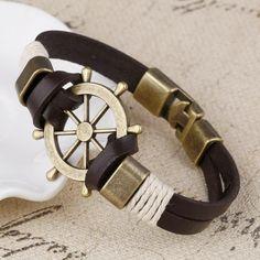 Cuff braided Leather Anchor Wrap Bracelet Wheel