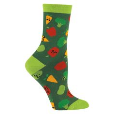 Listen to your mother eat your veggies! Or at least wear vegetables on your feet These foodie socks celebrate everything vegetable and keep you cute to cotton polyester spandex Made in S Korea Approximately fits women s shoe Vegan Gifts, Novelty Socks, Vegan Fashion, Fashion Socks, Playing Dress Up, Crew Socks, Knitting Socks, Shoes Online, Fit Women
