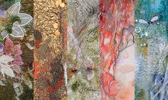 Étoffes de lumière Leur réalisation passe par de multiples techniques textiles: Jeux de fils et de tissus précieux (dentelles, soie, lamée, rubans, galons, fils métalliques) Métamorphose de matières (peinture, teinture, broderie main et machine) Alchimie de couleurs, musique et poésie. www.ina-statescu.fr/f/etoffestop.html