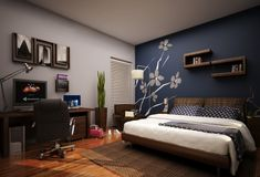 Bedroom idea? bedroom accent wall | blue-accent-wall-bedroom-manor-works-painting.png