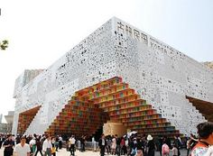 This temporary structure was designed for the Korean Pavilion at the Shanghai World Expo 2010 by the Korean architectural firm Mass Studies. It is an amalgamation of Korean written language and signage. The exterior of the building is clad in pixels of the Korean alphabet, Han-geul, creating an overall sign, or a text message.