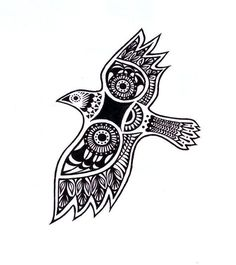 Sielulintu: Finnish mythological bird who protects one's soul while being asleep. I want to get it on tbe inside of my right wrist with the word Sisu written in blue ink around the neck of tbr bird. Finnish Tattoo, Scandinavian Tattoo, Symbols And Meanings, Dot Work, Pictogram, Mythical Creatures, Bird Art, Zentangle, Art Nouveau