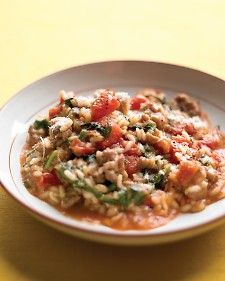 Tomato and Sausage Risotto, one of my favs. Try using a combination of sweet and hot sausage, you'll love it.