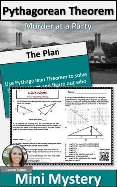 pythagorean theorem activity grade math activities, grade math This Pythagorean theorem activity will have your students engaged and excited, as they use Pythagorean theorem to figure out who among them is the murderer! Math Resources, Math Activities, Pythagorean Theorem, 8th Grade Math, Math Help, Common Core Math, Math Lessons, Math Tips, Mathematics