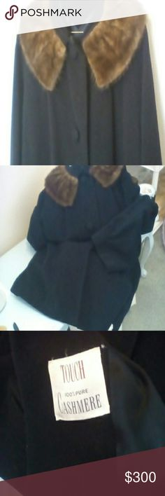 Vintage Coat Vintage, excellent condition,100 % cashmere and mink coat.  Satin lined, gorgeous and soft midi length coat.  Buttons could stand being resewed but other than that it's perfect.  Elegant and classy!   Thanks for stopping by! Jackets & Coats