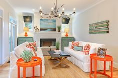 Fun Colors in the Home - splashes of orange and turquoise in the living room