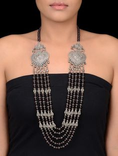 Buy Maroon Silver Garnet Multi string Beaded Necklace with Peacock Motif Jewelry Necklaces/Pendants In the Realm earrings necklaces bangles anklets and more gemstones Online at Jaypore.com